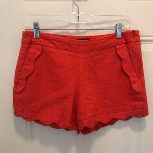 Cynthia Rowley Orange Linen Scalloped Shorts
